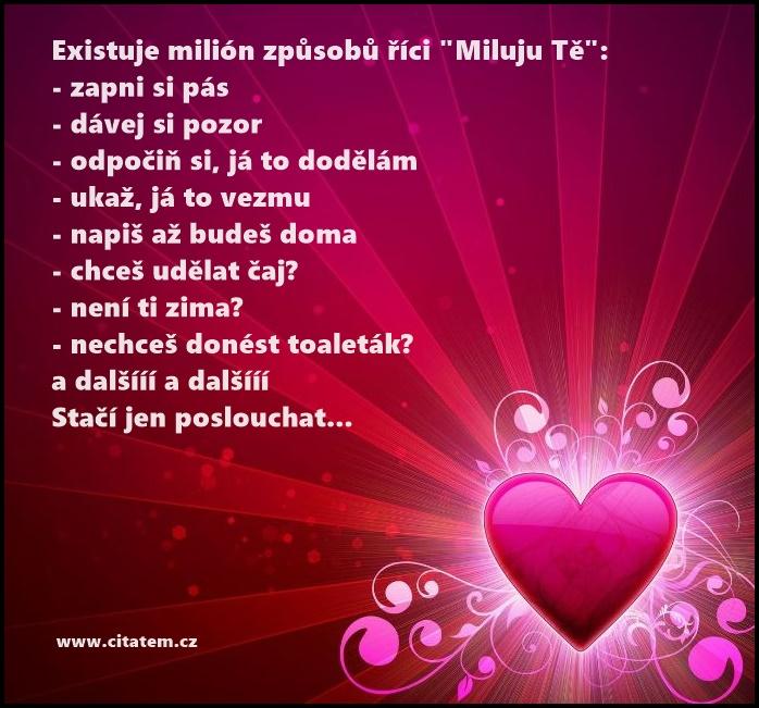 """Existuje milión způsobů říci """"Miluju Tě"""""""