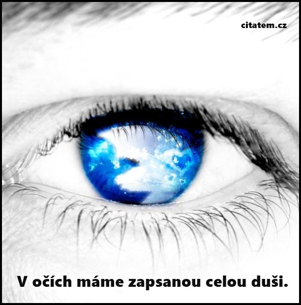V očích